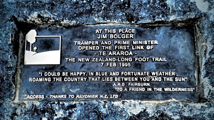 A plaque commemorates the humble beginnings of the Te Araroa